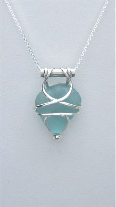 Sea Glass Jewelry Sterling Caged Aqua Sea Glass by SignetureLine