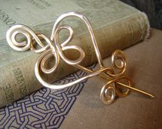 Celtic Heart and Swirls Brass Shawl Pin, Scarf Pin, Sweater Brooch - Celtic Knot Accessory, Women, Knitting