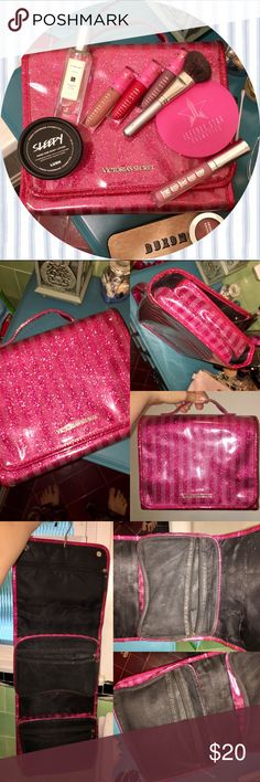 Sparkly VS Makeup Bag! Super girly, glamorous & gorgeous travel cosmetics/toiletries fold up bag from Victoria's Secret. Divided into 3 sections. Very practical and spacious!! The top section features 1 concealed zipper pocket & 3 divided mesh pockets. Large mesh zipper pockets have been cleaned, still has some minor permanent makeup staining from use. ^ (the flash in photos above makes it look worse than it actually is)^ Exterior is perfect & waterproof. Magnet closure, hangs up, extreme…