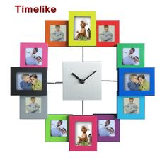 Large Decorative Wall Mounted Time Clocks 12 Pictures Photo Frame Clock Quartz Mechanism Horloge Wathces Estimated Delivery days Item No. Wall Clock Photo Frame, Picture Wall, Frames On Wall, Picture Frames, Photo Wall, Wall Collage, Wood Photo, Picture Photo, Wall Clock Brands