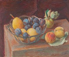 Alexandre Blanchet - Nature morte aux fruits - Huile sur toile, 38 x 46 cm.