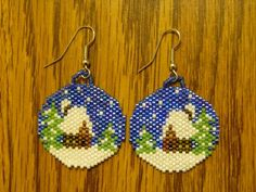 Winter Cabin Beaded Earrings