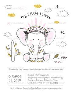 BIG LITTLE BRAVE  Προσκλητήριο με ελεφαντάκι ινδιάνο, που φοράει φτερά, χελιδόνια και κάκτους. Big Little, Brave, Snoopy, Teddy Bear, Boys, Girls, Invitations, Animals, Fictional Characters