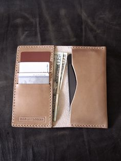 "Bas and Lokes Leather Goods - ""Brent"" Aussie Tanned Handmade Leather iPhone 5 and 5S Wallet, $120.00 (http://www.basandlokes.com/brent-aussie-tanned-handmade-leather-iphone-5-and-5s-wallet/)"