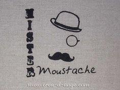 Articles brodés : Mr Moustache coupon brodé - Copyright Créa d'Ange®