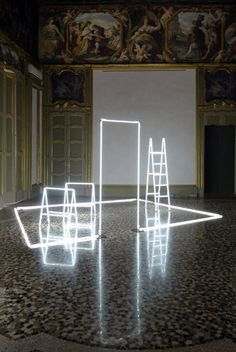 neon light installation by massimo uberti Neon Lighting, Lighting Design, Bar Lighting, Instalation Art, Stage Design, Light Art, Light And Shadow, Architecture, Sculpture Art