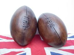 Vintage Leather Rugby Ball from Colonial Soldier. Rugby Images, Rugby League, School Sports, Sports Equipment, Vintage Leather, Creations, Vintage Sport, Cup Cakes, Antiques