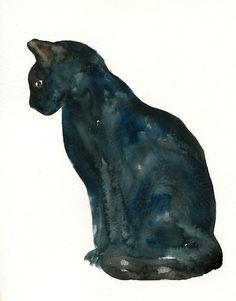 CAT by DIMDI Original watercolor painting 8x10inch by dimdi, $25.00