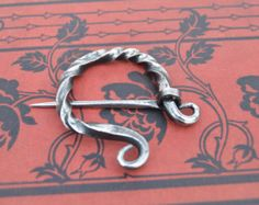 Hand Forged Stainless Celtic Cloak Pin or Broach - Penannular - Perfect for a Viking or Highlander but works well for a common peasant too!