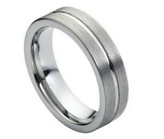 Tungsten Carbide Brushed with Polished Center Groove