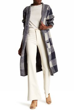 JOSEPH A Hooded Maxi Big Plaid Cardigan.  A comfy cozy plaid hood cardigan to warm you up while keep you looking stylishly elegant as well.