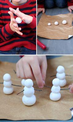 Clay Snowmen tutorial #winter #craft