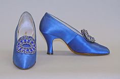 Evening pumps Saks Fifth Avenue  (American, founded 1924) Date: 1927–29 Culture: American Medium: silk, glass, metal, leather Dimensions: Length: 8 1/8 in. (20.6 cm) Credit Line: Gift of Mrs. Georges Gudefin, in memory of Mrs. Clarence Herter, 1965 Accession Number: C.I.65.47.12a, b