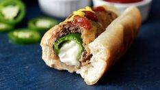 Recipe with video instructions: What to get the guy who's eaten everything? How about all the bar foods wrapped into one savory package? Ingredients: 4 large jalapeños, as straight as possible, Crinkle Fries, Beef Hot Dogs, Fried Corn, Hot Dog Recipes, Corn Dogs, Jalapeno Poppers, Backyard Bbq, Good Food, Fun Food