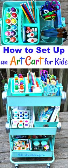 How to Set Up a Kids Arts Crafts Cart, Art Supply Cart for Kids, Easy to set up Arts and Crafts space for kids in the classroom