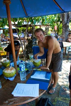 Coconuts and paper work with Alexey :)