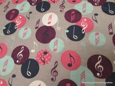 Flannel Fabric  Music Notes Purple Pink Blue  1 yard by SnappyBaby