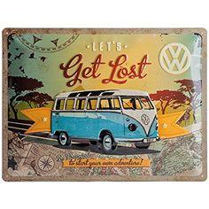 Nostalgic Art 23155 VW Bulli / Let's Get Lost, Metal Sign 30 x 40 CM