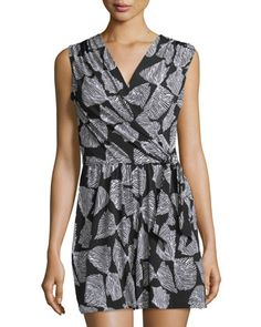 Neiman Marcus Bow-Print Sleeveless Short Jumpsuit 678cdc09d5
