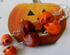 Halloween Fall Colored Skull Dangle Earrings by bumbalilliesbling, $11.00