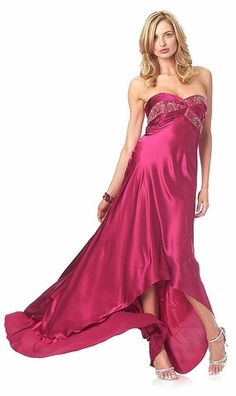 Magenta Formal Evening Gown Strapless Beaded Bodice charmeuse Train $164.99
