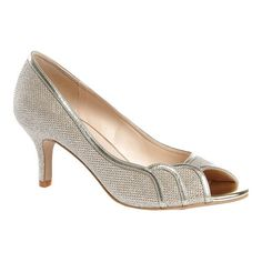 Women's Pink Paradox London Chester Open Toe Pump - Champagne Glitter Mesh Heels