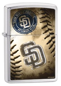 "Zippo MLB San Diego Padres Brushed Chrome Lighter. Genuine Zippo windproof lighter with distinctive Zippo ""click"". All metal construction; windproof design works virtually anywhere. Refillable for a lifetime of use; for optimum performance of every Zippo lighter we recommend genuine Zippo premium lighter fluid, flints and wicks. Made in USA; lifetime guarantee that ""it works or we fix it free"". Fuel: Zippo premium lighter fluid (sold separately)."