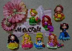 Set of Spring Princess Polymer Clay Charm Bead Scrapbooking Embelishment Bow Center Pendant Cupcake Topper on Etsy, $36.00