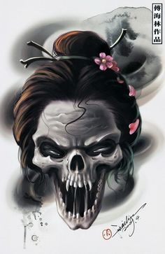 Geisha skull.  She has reasons to return, angry.