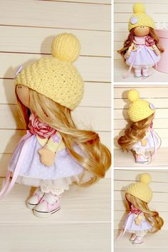 Textile doll Baby doll Winter doll Handmade doll Yellow doll Soft doll Art doll Fabric doll Nursery doll Cloth doll Rag doll by Tanya A