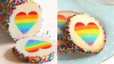 """Rainbow Heart Cookies """"Eugenie Cookies"""". Those are perfect for Valentine's Day!"""