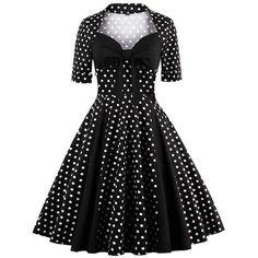 Black Vintage 1950s Polka Dots Rockabilly Dress ❤ liked on Polyvore featuring dresses, polka dot dress, dot print dress, vintage polka dot dress, vintage dresses and dressy dresses