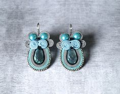 Soutache beaded earrings bridesmaid jewelry bridal by ShoShanaArt, $28.00