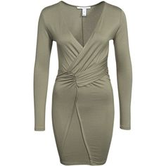 Nly Trend Draped Jersey Dress ($30) ❤ liked on Polyvore featuring dresses, olive green, party dresses, womens-fashion, jersey dress, nly trend, olive green dress, v neck jersey dress and v neck dress