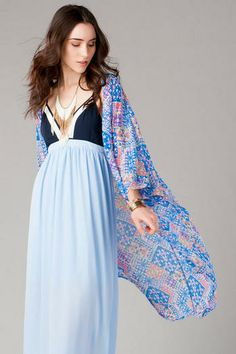 Amberley Printed Kimono , is a good maxi dress that could be worn causal or dressed up with some added accessories .