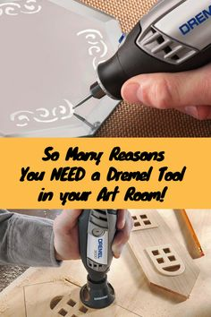 A Dremel is an amazing tool for the art room! There are so many attachments that can do so many different things! Cut through materials, sand, solder, engrave, burn...the list goes on and on! Check it out! #dremel #ad #teachingart #tools #fortheartroom #dremelattachments