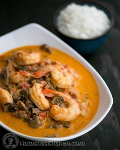 Shrimp and Mushrooms in a Garlic Bisque Sauce.