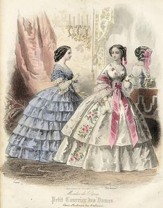 journal des demoiselles   ... Journal des Demoiselles , 1858. Very slight soiling. Size 17 x 23 cms