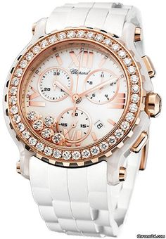 Chopard Happy Sport Chronograph  18kt rose gold bezel set with 40 diamonds