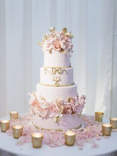 View entire slideshow: The 13 Most Glamorous Wedding Cakes You've Ever Seen on http://www.stylemepretty.com/collection/2361/
