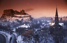Edinburgh in the Snow Edinburgh Castle, Edinburgh Scotland, Mount Everest, Snow, Mountains, Street, Dark, World, Gallery