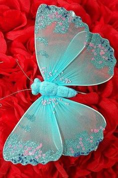 Red & turquoise | Aqua | crafted butterfly
