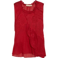 Vanessa Bruno Lace-appliquéd cotton top ($149) ❤ liked on Polyvore featuring tops, shirts, blouses, red, blusas, lace ruffle top, lace top, lace shirt, red ruffle top and flounce top