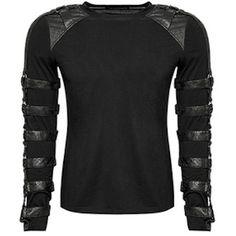 Designer Black Long Sleeve Gothic Steam Punk Warrior Tops for Men SKU-11409471