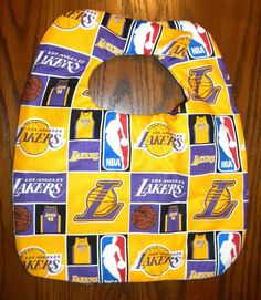 Hand Crafted NBA Los Angeles Lakers Basketball Baby Bib NEW