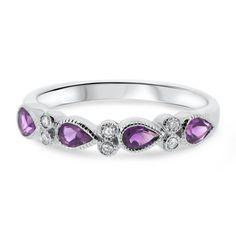 White Gold Pear Shape Amethyst and Diamond Vintage Eternity Ring Vintage Diamond, Vintage Rings, Art Deco Fashion, Ring Designs, Gemstone Jewelry, Diamond Cuts, Heart Ring, White Gold, Wedding Rings