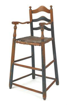 Pennsylvania ladderback highchair, late 18thC.