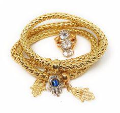 Gold-tone Hamsa Protection Luck Bracelet with Ring Set Fashion Jewelry NWT   Jewelry & Watches, Fashion Jewelry, Bracelets   eBay!