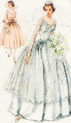 1940s Beautiful Bridal and Bridesmaid Dress Wedding Gown Pattern Romantic Scalloped Bodice, Sheer Lace Over Dress Version Simplicity 8425 Vintage sewing Pattern