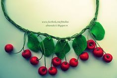 FIMOLINO: Colier cirese Cherries, Jewelry, Maraschino Cherries, Jewlery, Cherry Fruit, Jewerly, Schmuck, Jewels, Jewelery
